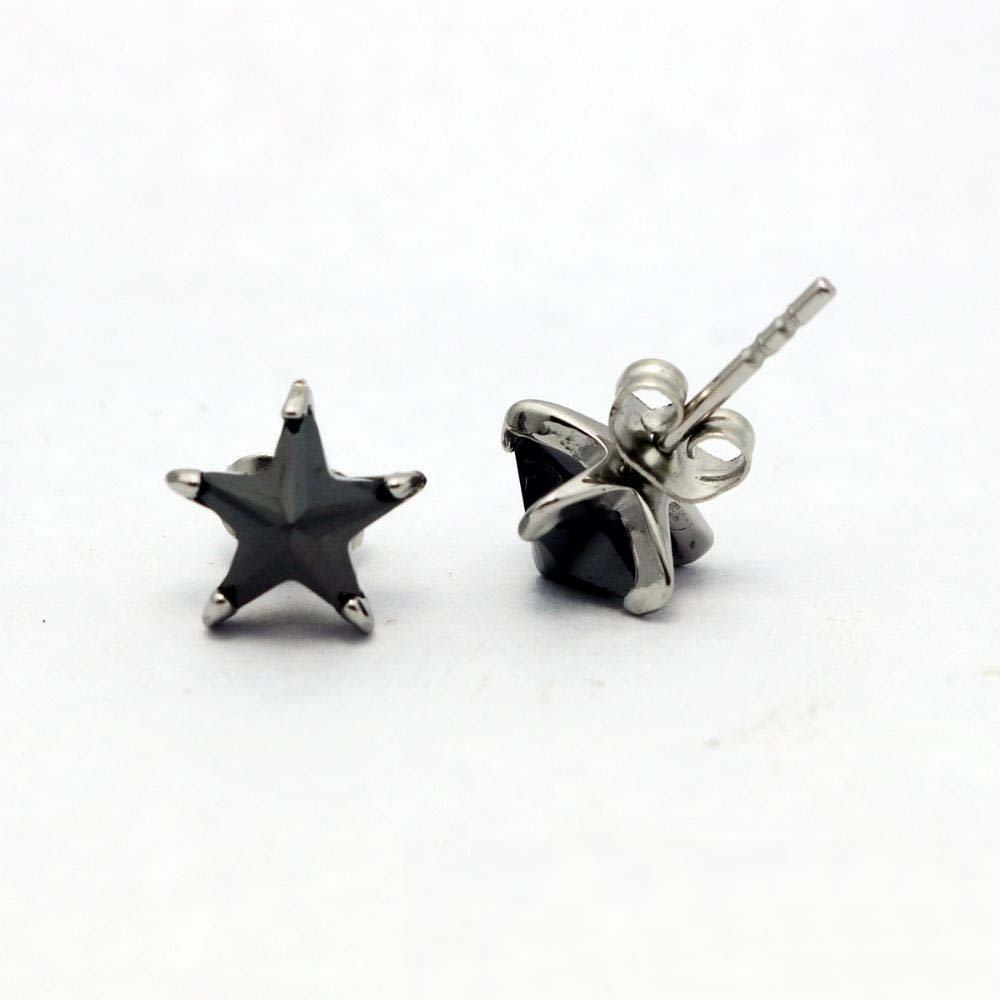 Ludage Earrings, Titanium Steel Star Ear Nail Star Zircon Ear Earrings Earring Earrings Allergy-Proof 8mm8mm