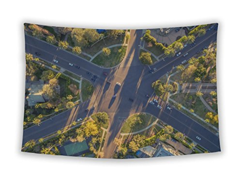 Gear New Wall Tapestry For Bedroom Hanging Art Decor College Dorm Bohemian, Aerial View Famous 6way Stop Street Intersection Beverly Hills, - Beverly Center Hour