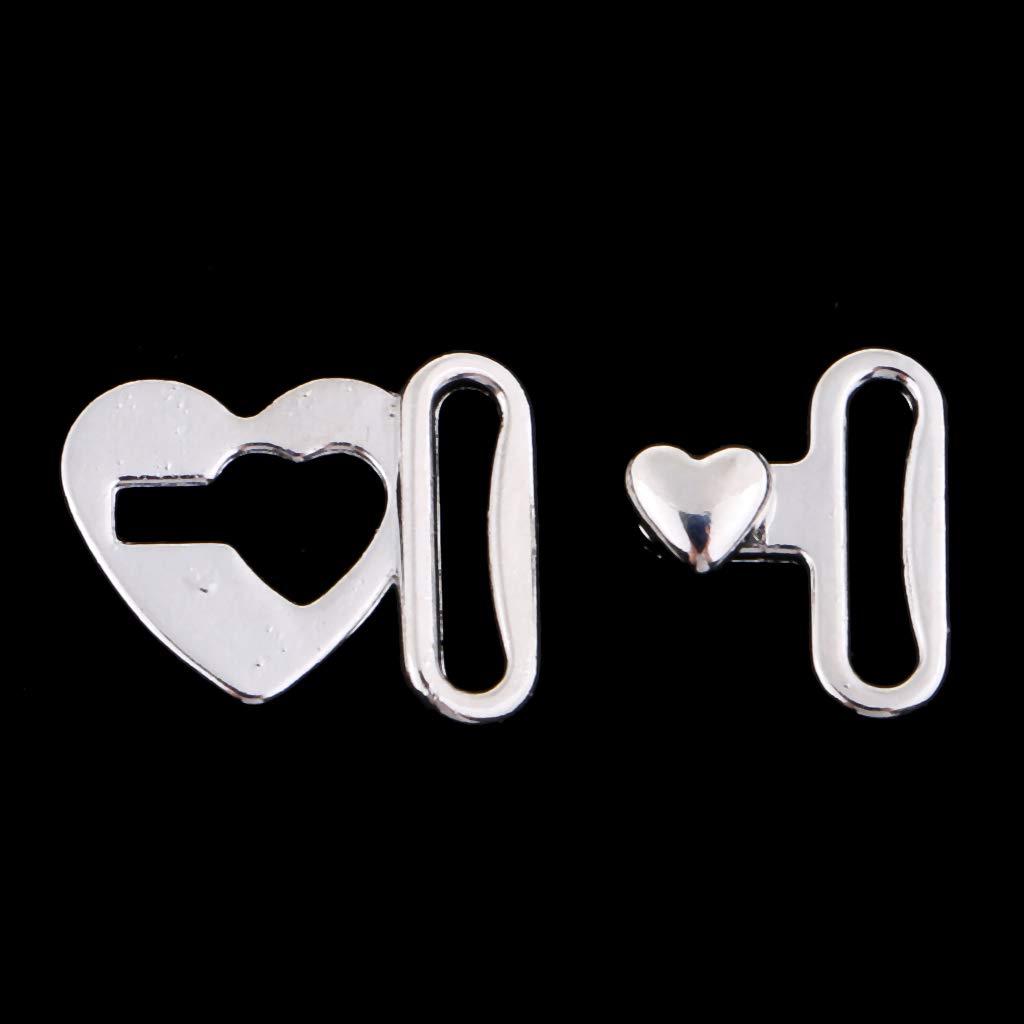 IPOTCH Set of 10 Heart Hook and Eye Fastener for Bra//Dress//Corset Sew On Hidden Button