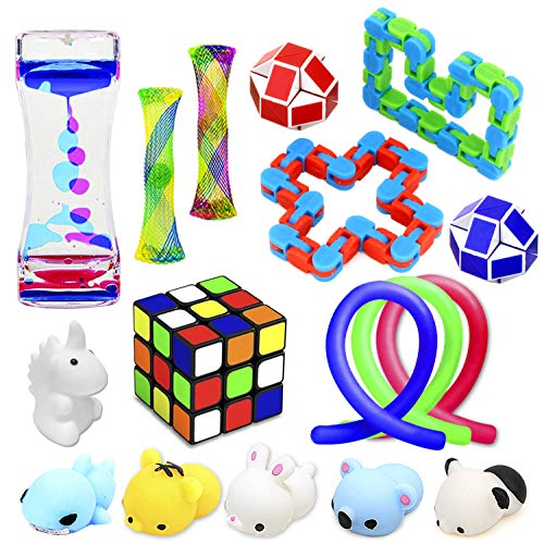 Fidget Toys Set, 17 Pack Sensory Tools Bundle for Stress Relief Hand Toys for Kids and Adults, Stretchy String/Liquid Motion/Cube/Twist Puzzle/Mesh Marble - Perfect for ADHD ADD Anxiety Autism]()