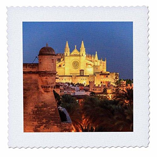 3dRose Danita Delimont - Churches - Spain, Mallorca, Palma de Mallorca. La Seu Gothic Cathedral. - 25x25 inch quilt square (qs_277911_10) by 3dRose