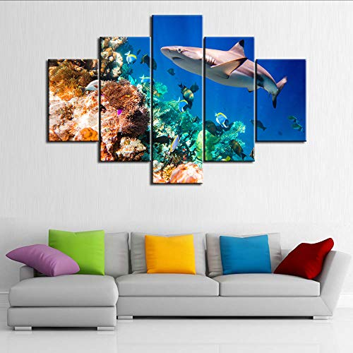 Shark Artwork for Walls Underwater World Picture Tropical Fishes Painting Multi Panel Prints Canvas Coral Reef Wall Art Home Modern Decor Stretched and Framed Ready to Hang in Living Room(60''Wx40''H)