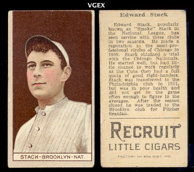 1912 t207 tobacco (Baseball) Card# 166 edward stack of the Brooklyn Fair Condition