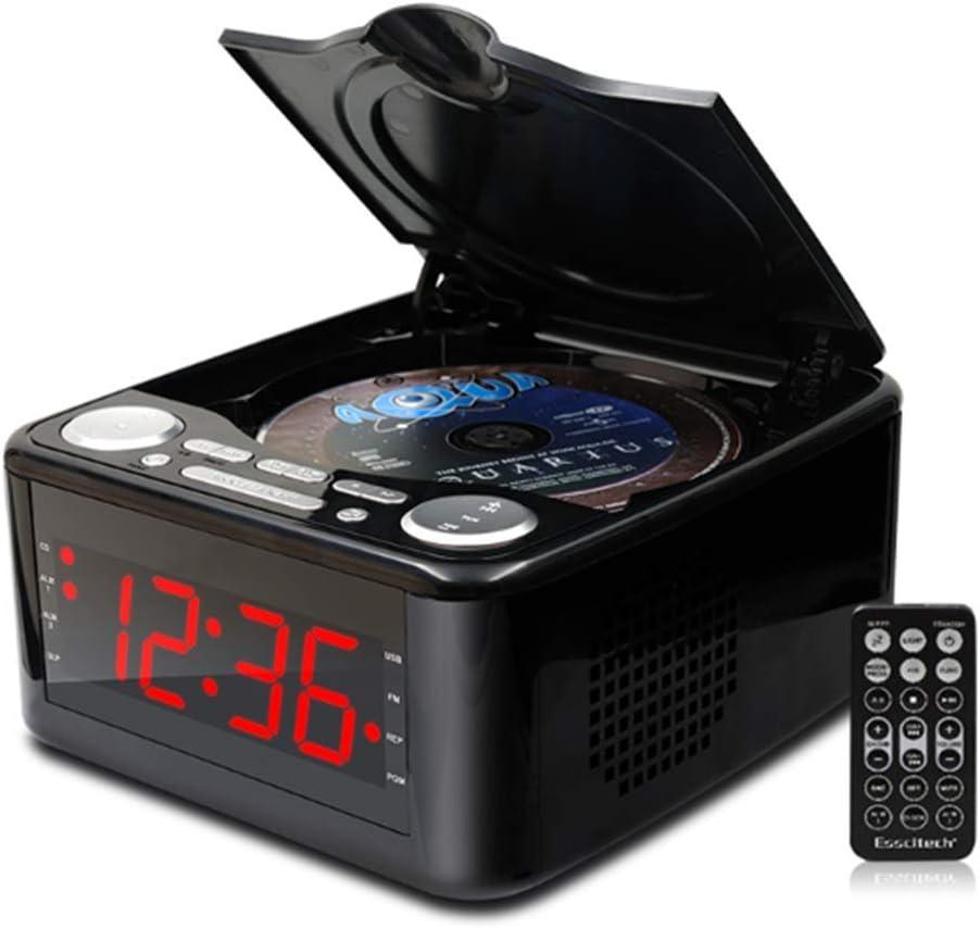 Clocked Cd Drive CD Player Stereo Speakers Alarm Clock Usb Prenatal Zaojiao//WMA Music FM Radio Aux Input Headphone Output MP3,Pink