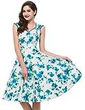 PAUL JONES Womens Flower Print Sleeveless V-Neck Vintage Dress Color B(M)