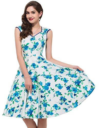 (GRACE KARIN 50s Blue Floral Dress for Women Tea Party Dress Cap Sleeve (L))