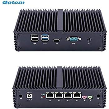 Amazon com: Qotom Q330G4 4 LAN Mini PC with 4Gb Ram 32Gb SSD