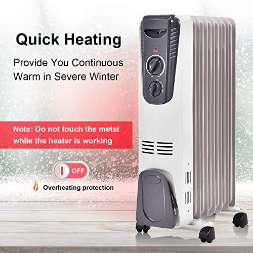 Bathroom Radiant Heaters: Tangkula Electric Oil Heater, 1500W Home Office Bathroom