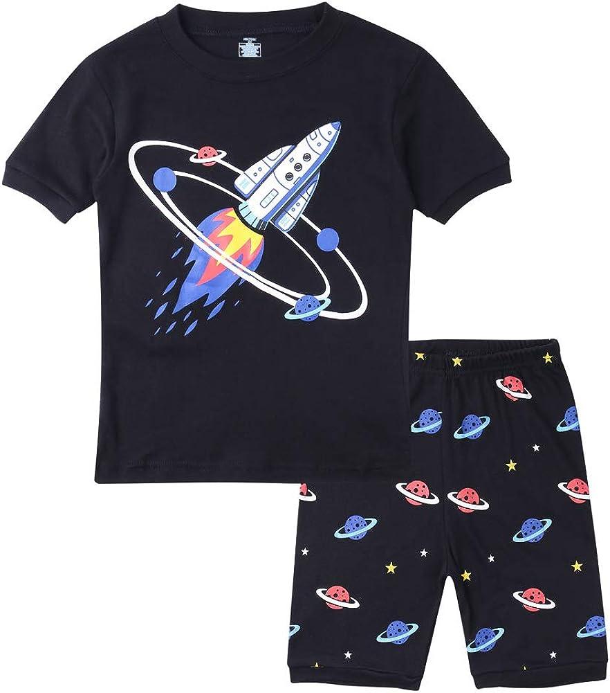 Glow in Dark Rocket, 8 Short Sleeve Rocket Pajamas Summer Cotton Kids Pajamas Hsctek Boys Clothes