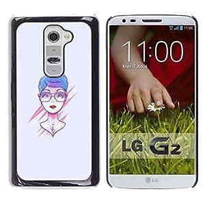 // PHONE CASE GIFT // Duro Estuche protector PC Cáscara Plástico Carcasa Funda Hard Protective Case for LG G2 / Rosa Mujer /