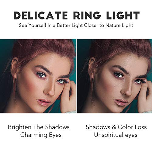 Rovtop 10 inch Ring Light with Stand Tripod, LED Circle Lights with Phone Holder for Selfie Camera Photography Makeup Video Live Streaming