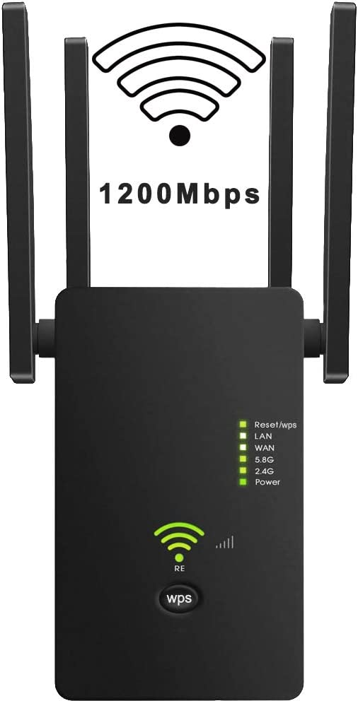 WiFi Range Extender, Up to 1200Mbps, 2.4 & 5GHz Dual Band WiFi Repeater WiFi Signal Booster with 4 Antennas, Supports Repeater and AP Mode, Extending WiFi to Whole Home and Garden