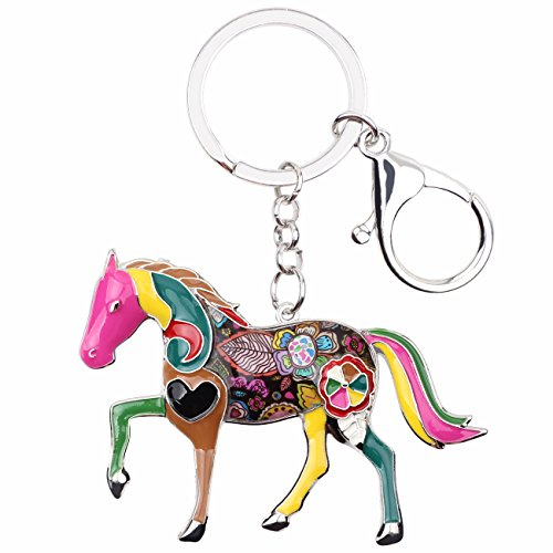 Enamel Metal Horse Key chains For Women Girls Gifts Car Purse Animal Pendant Charms toy (Multicoloured) from BONSNY