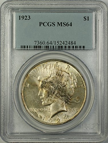 1923 Peace Silver Dollar Coin (ABR15-L) Toned $1 MS-64 PCGS
