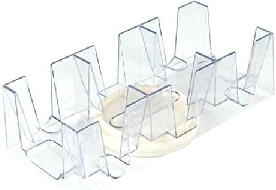 9 Deck Plastic Revolving Playing Card Tray with 3 Slots - Clear