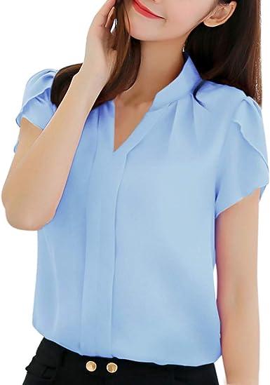 Mujer Blusa De Gasa Color Sólido Camisas Manga Corta V-Cuello para Mujer Casual Tops Blusas Delgado Ropa De Mujer Oficina De Trabajo Verano Wyxhkj: Amazon.es: Ropa y accesorios