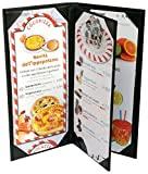 4 Pcs of Restaurant Menu Covers Holders 4.75'' X 11'' Inches, 3panel 4view,Sold By Case,With Clear PVC sheets for Paper Protection