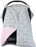 Premium Carseat Canopy Cover and Nursing Cover- Large Damask Pattern w Pink Minky | Best Infant Car Seat Canopy for Girls | Cool Warm Weather Car Seat Cover | Baby Shower Gift for Breastfeeding Moms