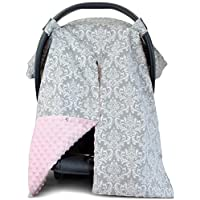 Premium Carseat Canopy Cover and Nursing Cover- Large Damask Pattern w/ Pink ...