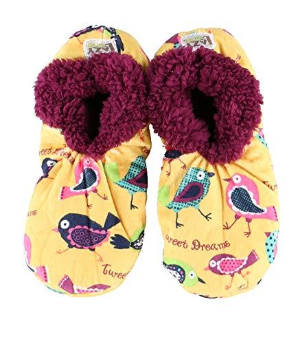 Tweet Dreams Womens Plush Fuzzy Feet Slippers by LazyOne | Ladies Soft Fuzzy House Slippers (L/XL)