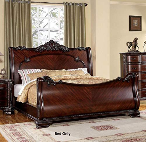 - Furniture of America Bellefonte Collection CM7277CK-BED California King Size Sleigh Bed with Luxurious Baroque Style Intricate Accents Solid Wood and Wood Veneers Construction in Brown Cherry Finish