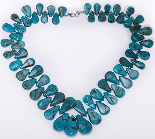 Kingman Turquoise Teardrop and Sterling Silver Necklace by Dansker Designs (Kingman Turquoise Necklace)