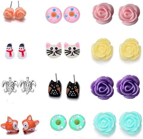 Onnea Multi Pairs Stud Earrings Set for Grils(Disc Ball,Rose Flower ,Bowkont)