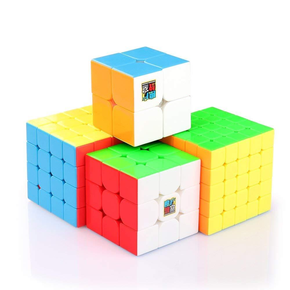Coogam Cube de Vitesse Ensemble Moyu 2x2 3x3 4x4 5x5 Lisse Speed Cube Puzzle Jouet Magic Cube sans Autocollant Cube de Magique avec Boîte-Cadeau pour Les Enfants Cadeau de Noël