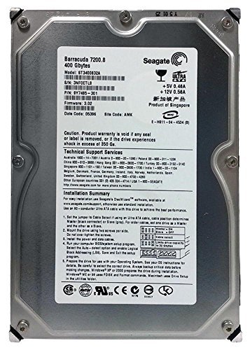 Seagate ST3400832A Barracuda 400GB 7200 RPM EIDE/IDE PATA Hard Drive. 8MB Buffer DMA/ATA-100 Ultra-3.5 Inch (Low Profile) 1.0 Inch. - Ultra Ata Hdd
