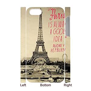 Custom iPhone 4,4S Case, Zyoux DIY New Fashion 3D iPhone 4,4S Cover Case - Eiffel Tower