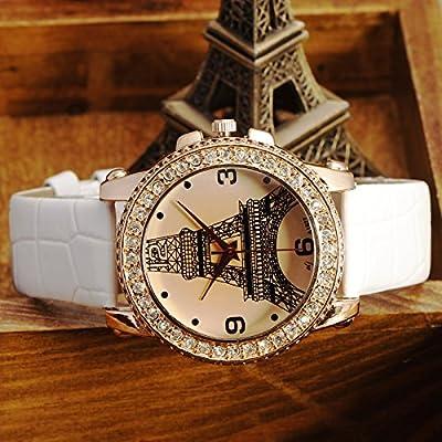 NEW Paris Fashion Eiffel Tower Crystal Dial PU Band Cute Women Wrist Watch