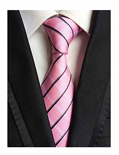 Silk Woven Classic Check Men's Business Tie Necktie Plaid Ties (PINK)