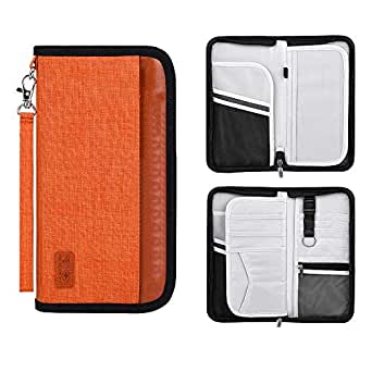 Passport Holder RFID Blocking Multifunction - Travel Wallet for Family Larger Capacity Waterproof Nylon Fabric (orange)