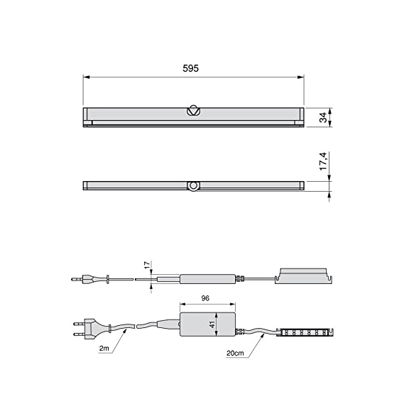 Emuca Lámpara LED Inclinada para Armario/Mueble con Sensor de Movimiento Integrado, Blanco Cálido y Anodizado Mate, L 595mm: Amazon.es: Iluminación