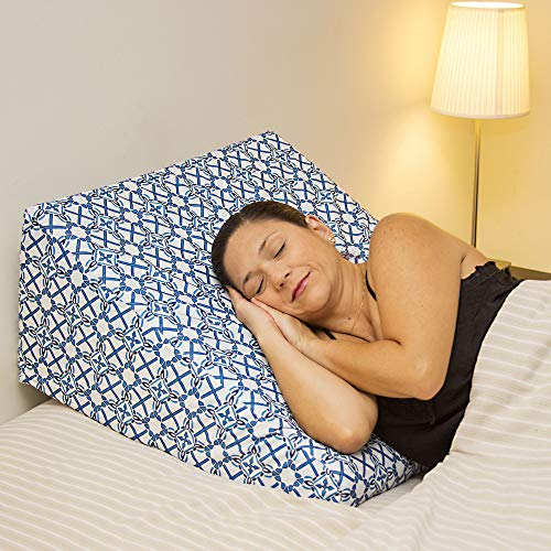 """Acid Reflux 12 Wedge Pillow - Memory Foam Bed Wedges. Pillows for Support, Pregnancy, Snoring, Sleep & Elevation (25""""x25""""x12"""") Plush Gel Elevating Leg Cushion, 2 Removable Washable Covers Incl"""