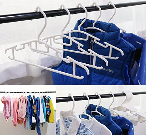 60 Pack Non-slip White Tubular Children's Hangers 12 Inch for Kids Baby Infant Toddler with Plastic Hanger Straps by ilauke by ilauke (Image #7)