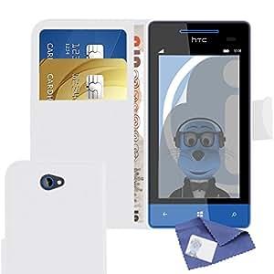iTALKonline HTC Windows Phone 8X PU Cuero BLANCO Caso de la cubierta del tirón del libro de la carpeta Ejecutivo de Credit / Tarjetero y Protector de pantalla más Microfibre paño de limpieza