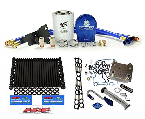 2003-2007 Ford Powerstroke 6.0L Diesel Custom ARP Head Stud Kit & Sinister Coolant Filtration System& EGR Delete Kit& Oil Cooler& Intake Gaskets Set - Solution Kit - Bundle (Sinister Diesel Oil)