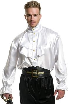 Para hombre blanco (volantes de satén camisa: Amazon.es: Juguetes y juegos