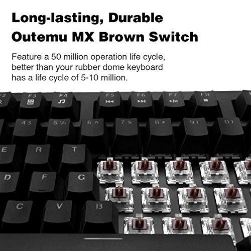 90479bce3ec ... Velocifire VM01 Mechanical Keyboard 104-Key Full Size with Brown  Switches LED Illuminated Backlit Anti ...