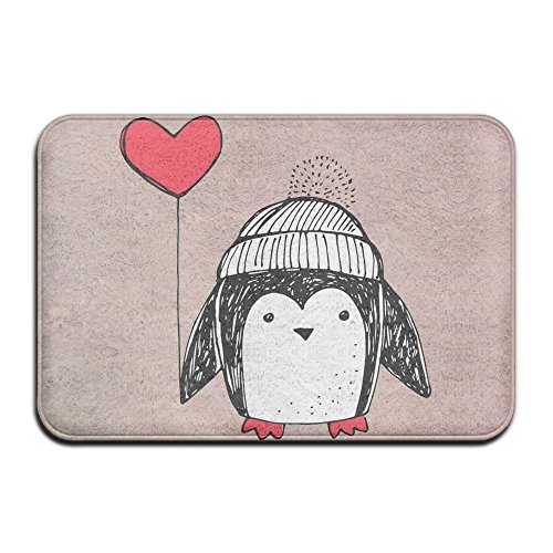 Penguin Love BalloonIndoor Doormat Non Slip Door Mat For Front Door Inside Floor 1624 Inch