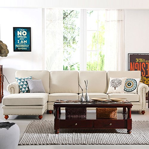 Modern 3-Piece Linen Fabric Sectional Sofa Chaise Lounge Set (Right Chaise)