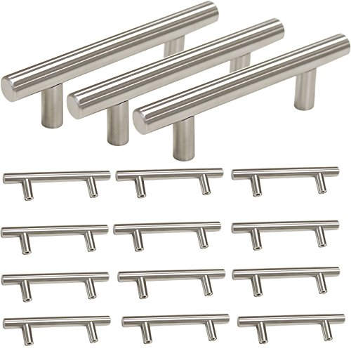 Probrico Stainless Steel Modern Cabinet Drawer Handle Pulls Kitchen Cupboard T Bar Knobs and Pull Handles Brushed Nickel - 3 Inch Hole Centers - 15Pack