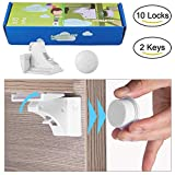 Cabinet Locks Child Safety Locks-Magnetic Child Proof Baby Proofing Cabinet Drawers Closet Locking Cabinet Locks 10 Locks 10 Latches 2 Keys No Drills No Screws Needed