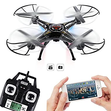 TOP XEN TECH 4 Channel 2.4 GHz 6-Axis Gyro Headless RC Quadcopter with HD Camera, 360-degree 3D Rolling Mode RC Drone