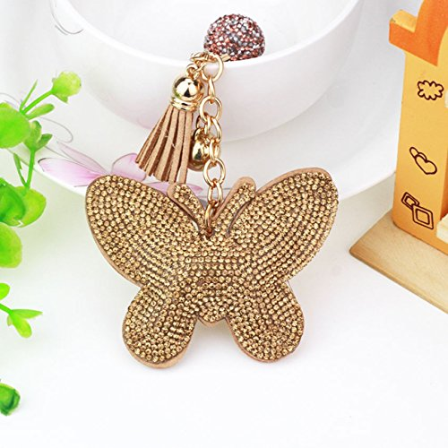 Color Split Pu Leather (1 Pc Mini Pocket Rhinestone Butterfly w/ PU Leather Keychain Keyring Keyfob Girl's Romantic Pendant Key Chain Ring Fob Finder Necklace Terrific Popular Cute Wristlet Utility Keychains Tool, Type-08)