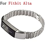 Moretek Metal Band Accessories Replacement Bands for Fitbit Alta Fitness Smart Watch Wrist strap (Silver3 Stripe)