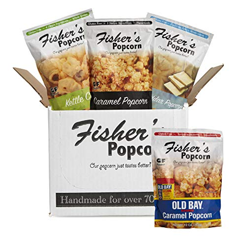 (Fisher's Popcorn 4 Bag Flavor Variety Pack, Gluten Free, Simple Ingredients, Zero Trans Fat, 3oz-10oz Bags (Pack of)
