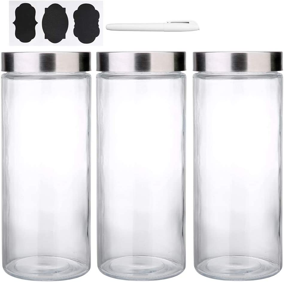 [NEW UPGRADE LEAKPROOF] Daitouge 74 oz Glass Storage Jars with Stainless Steel Lids, Glass Airtight Canisters & Container - Fits Bulk Food and Spaghetti Pasta, Pack of 3