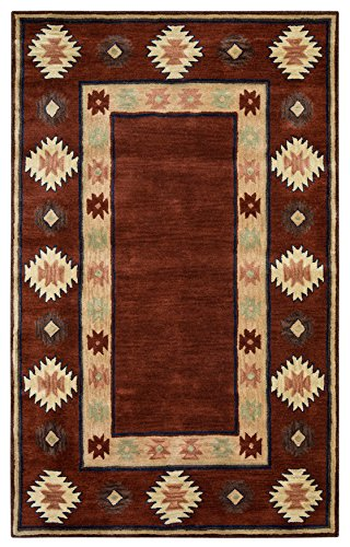 Rizzy Home Southwest Collection SU2014 Handtufted 100% Wool Area Rug 9' x 12' Burgundy-tan
